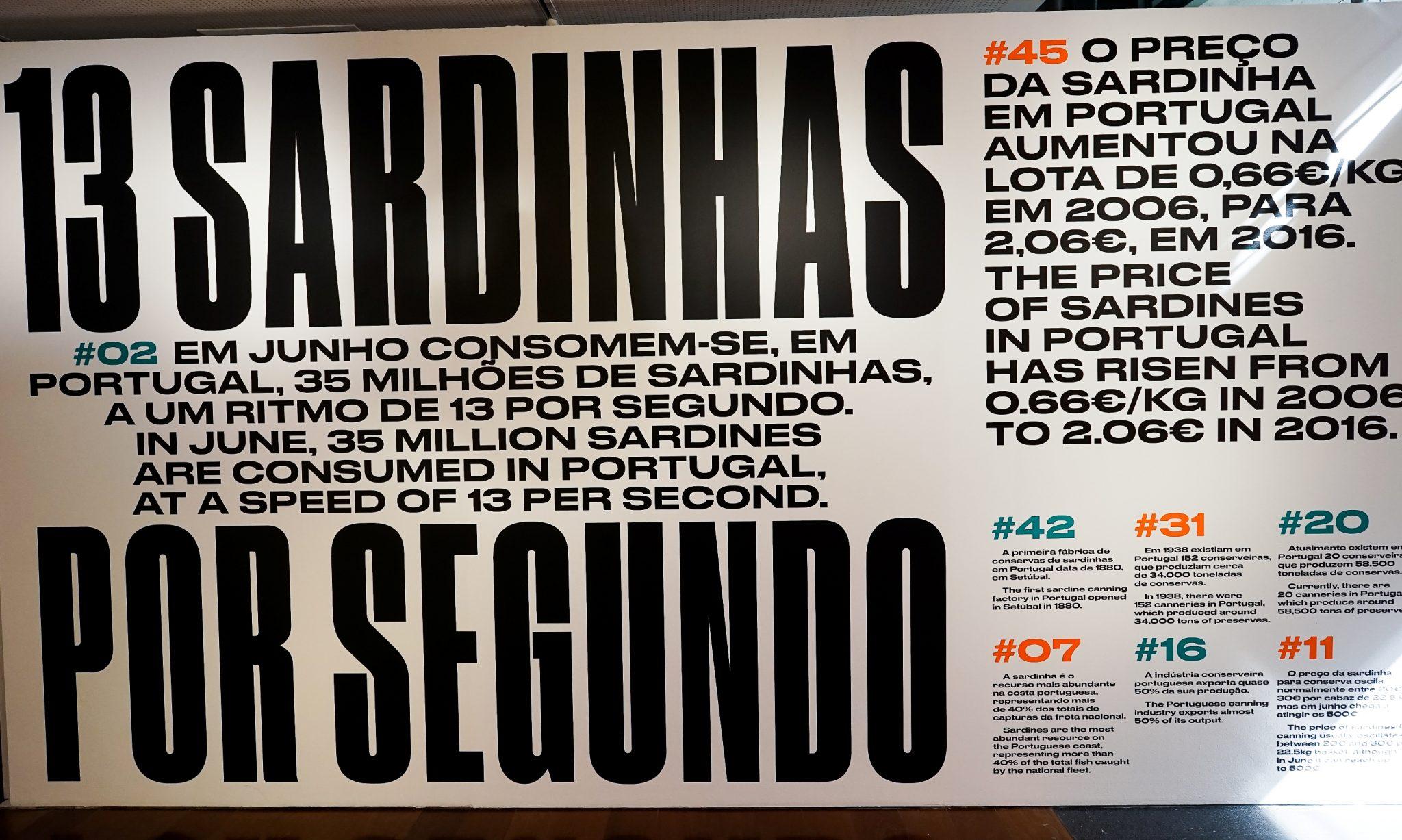 Painel informativo sobre sardinhas, onde se lê, por exemplo, que em Junho consomem-se 13 sardinhas por segundo em Portugal.