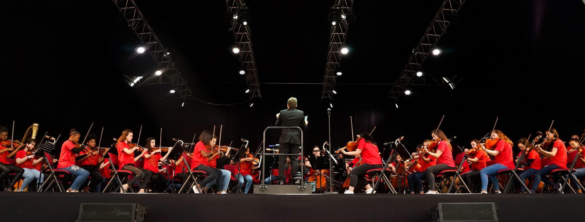 Vista de palco com elementos da orquestra, de lado para o observador, e o maestro, de costas para o observador